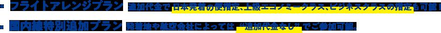 フライトアレンジプラン 追加代金で日本発着の便指定、上級エコノミークラス、ビジネスクラスの指定も可能! 国内線特別追加プラン 発着地や航空会社によっては追加代金なしでご参加可能。