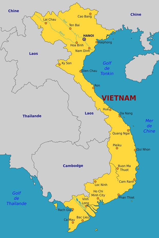 ベトナムは南北に細長く伸びた国土が特徴です
