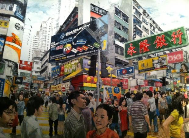 香港人アーティスト周俊輝による旺角の風景画。