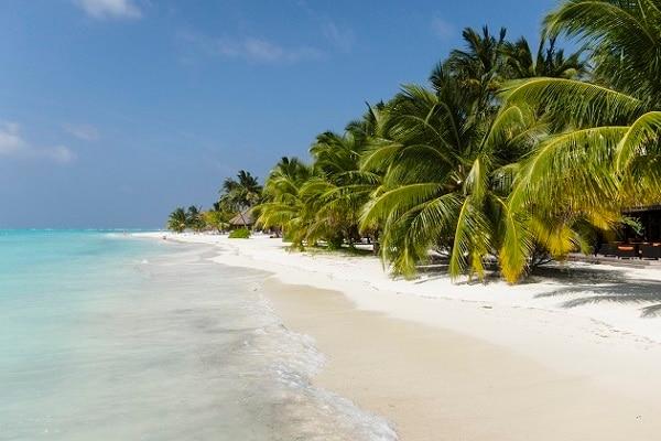 白砂の美しいビーチが続く、モルディブらしい景色