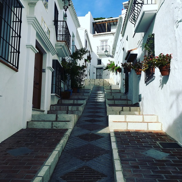 ミハスで一番絵になるといわれているサン・セバスチャン通りの坂。白い壁に飾られた花が街に彩りを添えている
