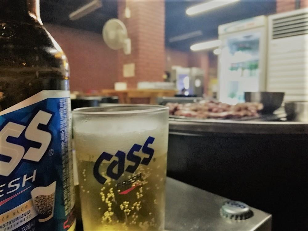 韓国ビールのCass