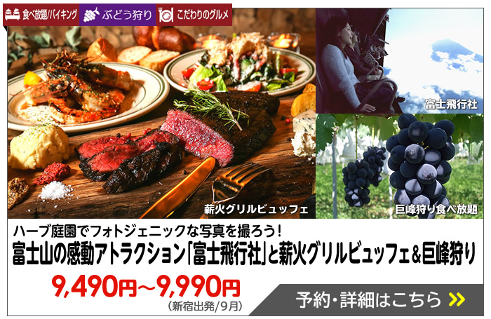 「絶景にも、ほどがある」富士山の感動アトラクション「富士飛行社」と薪火グリルビュッフェ&まんまる巨峰狩り♪
