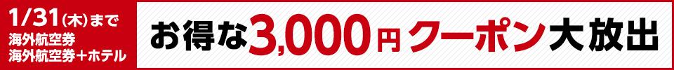 1/31(木)まで 海外航空券、海外航空券+ホテル お得な3,000円クーポン大放出