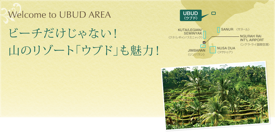 Welcome to UBUD AREA ビーチだけじゃない!山のリゾート「ウブド」も魅力!
