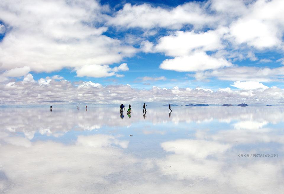 雨季のウユニ塩湖